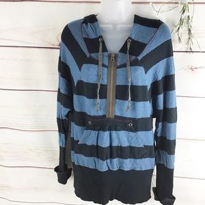 Free People Rugby Striped Hooded Shirt